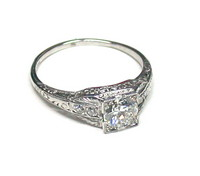 Platinum & Old European Cut .62 carat Diamond Ring