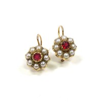 Sweet Red Spinel and Seed Pearl Earrings