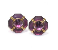 Amethyst & Colored Glass Earclips