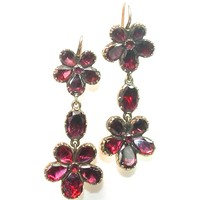Stunning Georgian Garnet Pansy Earrings