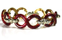 18kt Bi-Color Gold, Enamel Bracelet with Diamond Accents