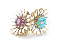 Double Daisy Ring of Enamel, Turquoise & Ruby