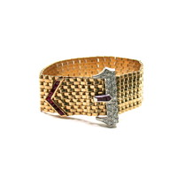 Exceptional Retro Ruby, Diamond Buckle Bracelet