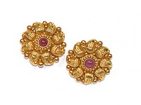 22kt Gold & Ruby Earrings, India