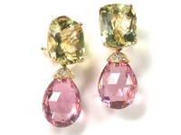 Golden Beryl Morganite Drop Earrings