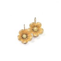 Antique Gold Flower Blossom Earrings