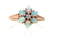 Lovely Opal Diamond Flower Cluster Ring