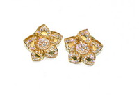 Chic & Fabulous Diamond Flower Ear Clips
