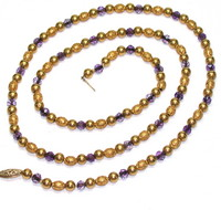 Amethyst & 18kt Gold Bead Necklace