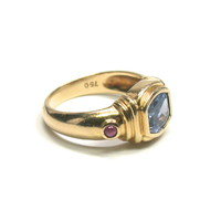 Pale Blue Sapphire Ring with Ruby Accents