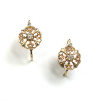 Gold Floret Earrings with Diamonds
