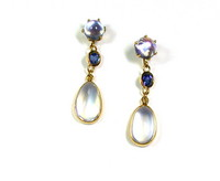 Moonstone & Sapphire Earrings