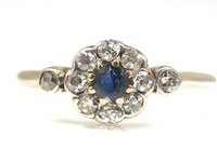 Petite Art Deco Platinum Diamond Sapphire Flower Cluster Ring