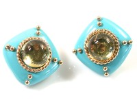 Signed MAZ Turquoise Citrine Ear Clips