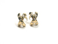 Henry Dankner & Sons 18kt 'X' Earrings with Diamonds