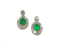 Platinum, Diamond & Emerald Earrings