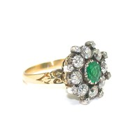 Striking Victorian Emerald Diamond Ring