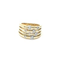 Modernist 14kt Multi Diamond Ring