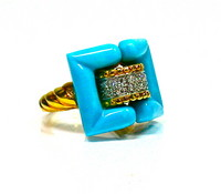 Retro 18t, Turquoise & Diamond Ring