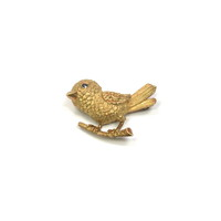 Sweet 18kt Bird on a Branch Pin