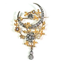 Antique Gold, Diamond, Pearl Brooch