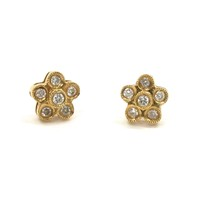 Delicate Gold and Diamond Floret Earrings