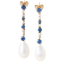 Pearl Drop Earrings with Sapphires and  Pearls