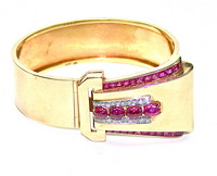 Retro 14kt, Ruby and Diamond Convertible Bracelet