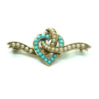 Split Pearl and Turquoise Heart Pin