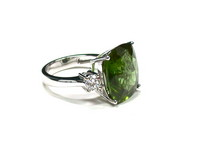 Deep Green Peridot & Diamond Ring
