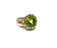 Charles Krypell Peridot & Diamond Ring