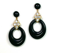 Chic & Fantastic Black Onyx & Diamond Earrings