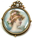 Hand Painted Ivory Portrait Miniature Pin/Pendant