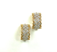 Gold & Diamond Wide Hoop Earrings