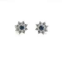 Dainty Sapphire Diamond Flower Cluster Earrings