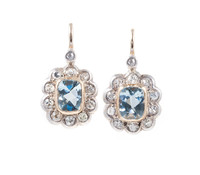 Edwardian Aquamarine Diamond Cluster Earrings