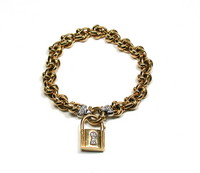 Chain Link Bracelet with Removable Padlock Charm