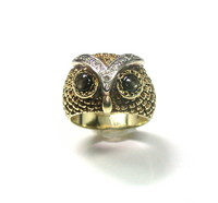 Wonderful Gold & Diamond Owl Ring