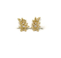 18kt Flower Earclips with Diamonds