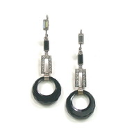 Deco Sterling Onyx & Paste Earrings