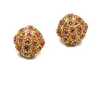 Tiffany & Co 18kt & Ruby Button Earclips