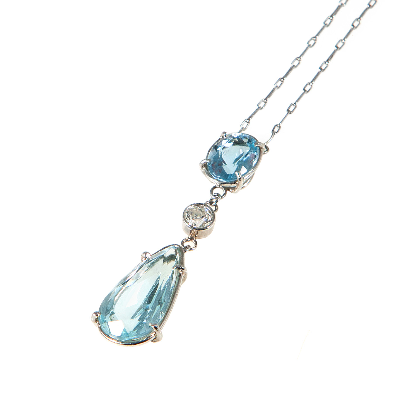 edwardian platinum aquamarine pendant necklace