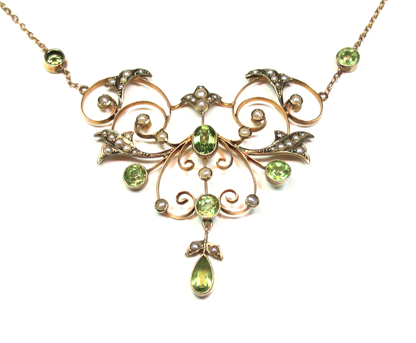Victorian Peridot Amp Seed Pearl Necklace