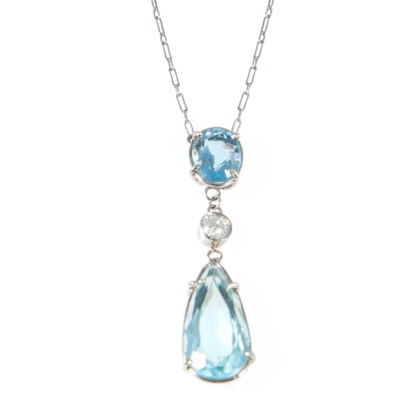 Edwardian Platinum, Aquamarine & Diamond Pendant Necklace